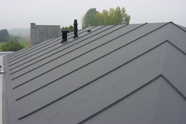 A sloped PVC roof installed on a residential property