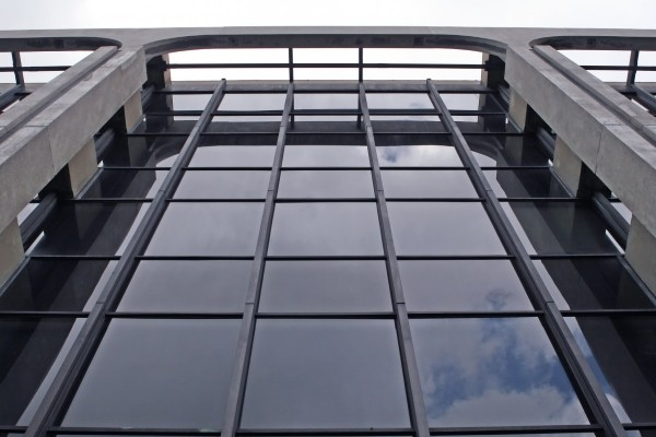 a huge glass windowed commercial property