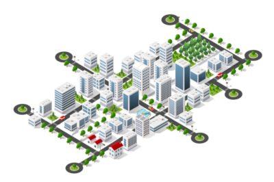 cartoon image of white buildings