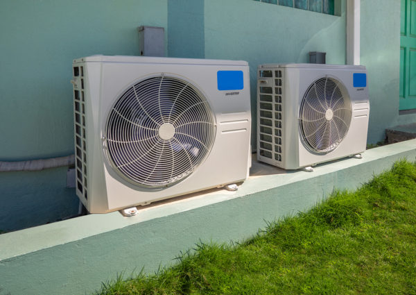 modern AC-heater inverter units in a building