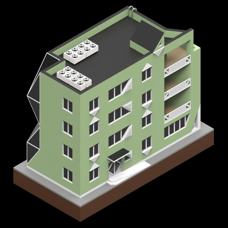 cartoon image of green building with black roof