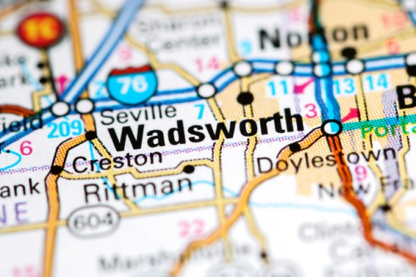 Wadsworth OH on a map